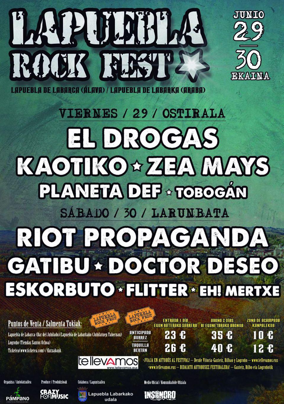 Lapuebla Rock Fest Programación 2018